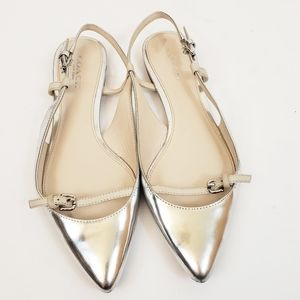 Coach Wooster Pointed Toe Flat Silver Metallic 5.5